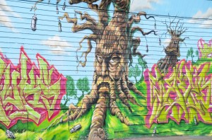 Inspired by Tolkien or the Wizard of Oz? Talking trees at 5 Pointz.