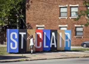 "The ""upcycled"" doors of Cleveland's St. Clair. (via cleveland.com)"