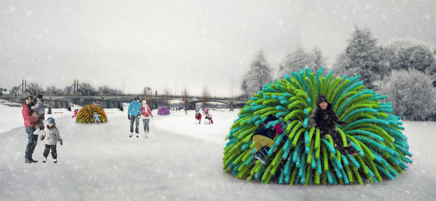 Look again: This koosh ball-like structure is actually a warming hut!