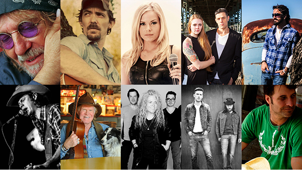 Artists pictured above (L to R, from top to bottom): Ray Wylie Hubbard, Zane Williams, Kayla Reeves, Nick Schnebelen Band, Cody Canada, Chase Sanford, Billy Joe Shaver, Somebody's Darling, Brothers Osborne, Deryl Dodd