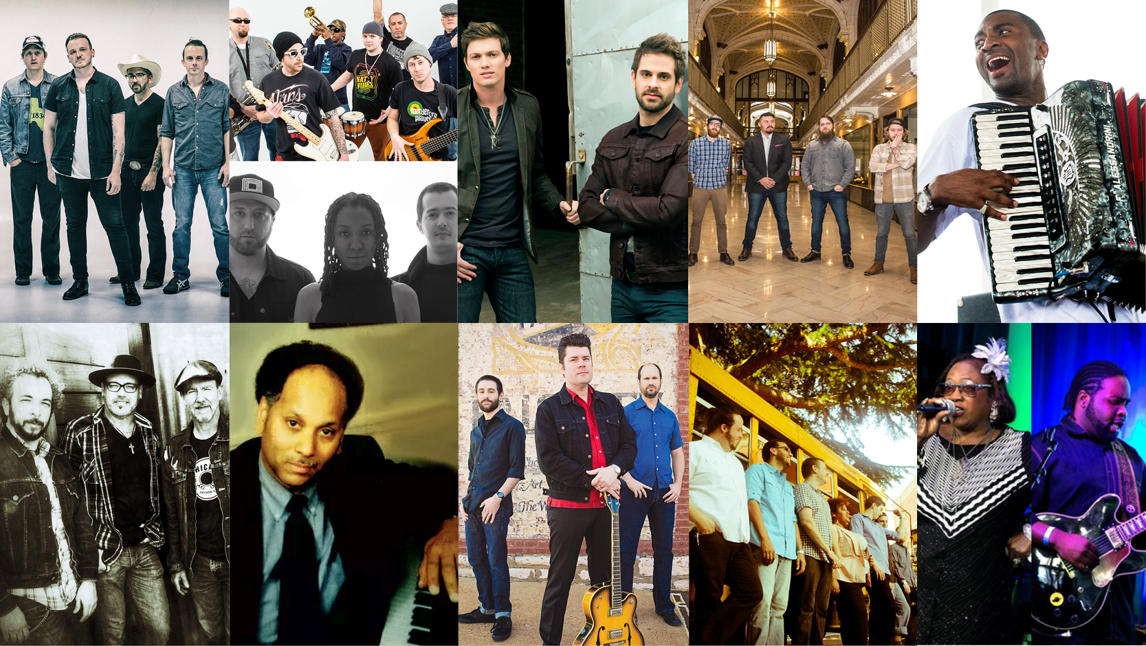 Artists pictured above (L to R, from top to bottom): Vandoliers, Unifyah and Mathis & The Pirates, Waterloo Revival, Old Salt Union, Curley Taylor, Ptah Williams, The South Austin Moonlighters, The Trip Daddy's, Dirty Revival, and Marquise Knox ft. Renee Smith.
