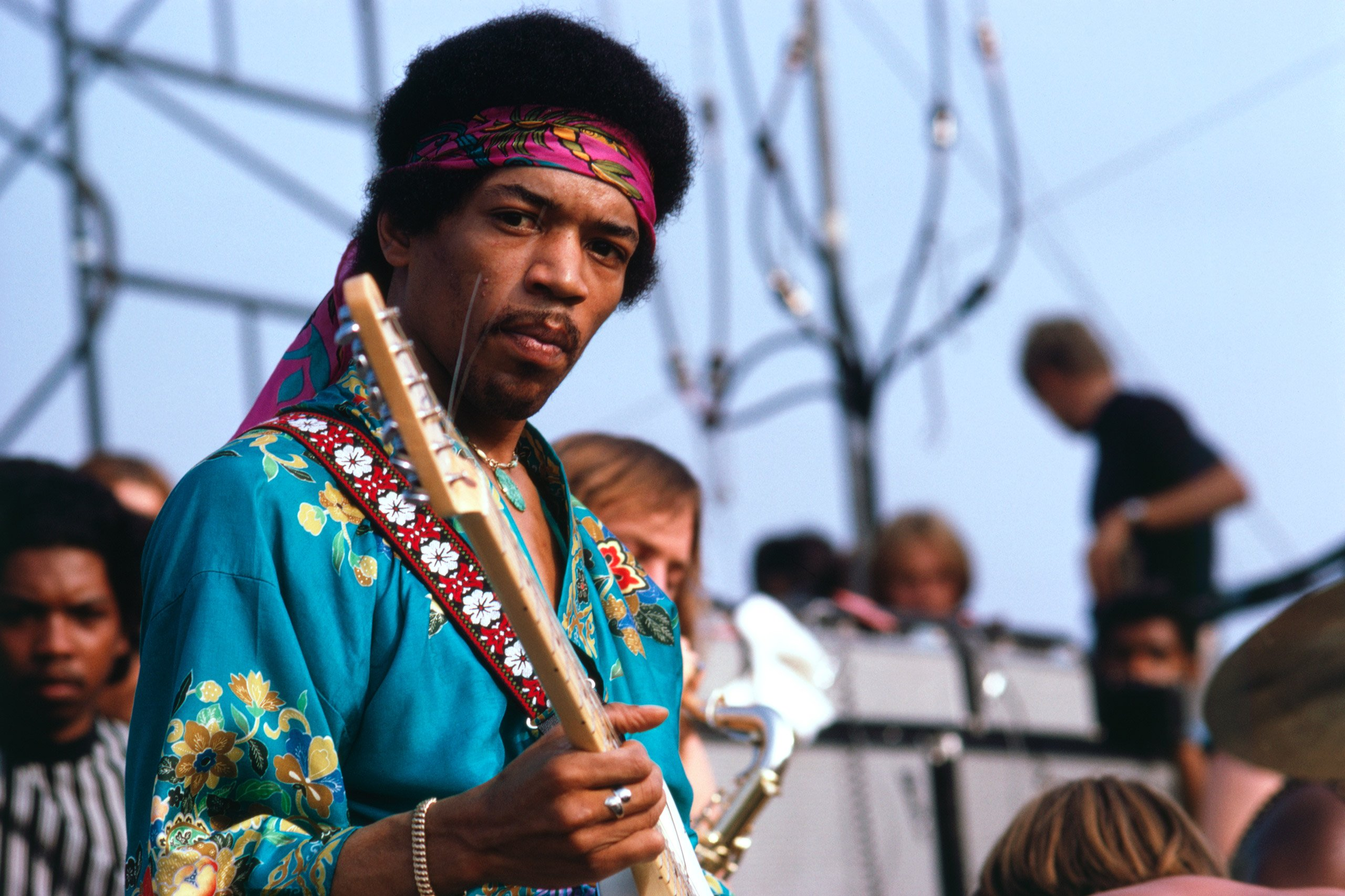 American singer-songwriter and guitarist Jimi Hendrix on stage at the Newport Pop Festival, Northridge, California, June 22, 1969.
