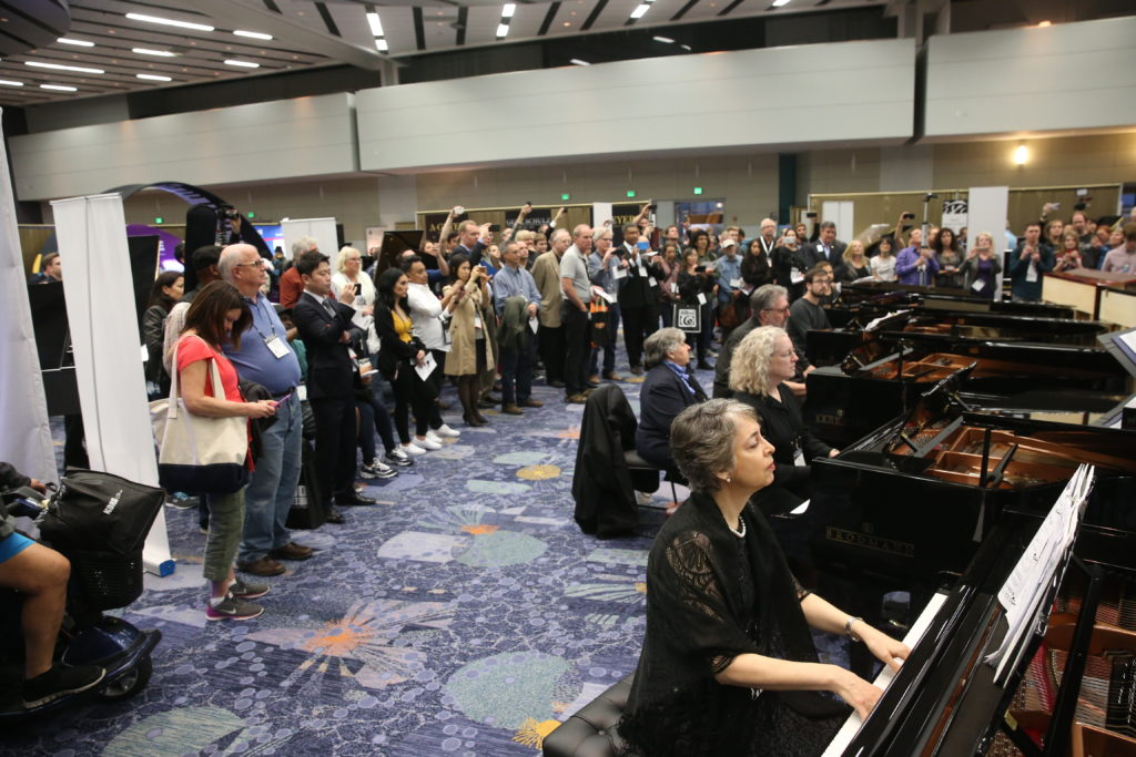 "More than 50 pianists filled Lounge 88 in the Anaheim Convention Center with their virtuosic piano sounds for ""A Roomful of Pianos"". Photo taken by Jesse Grant / Getty Images for NAMM"