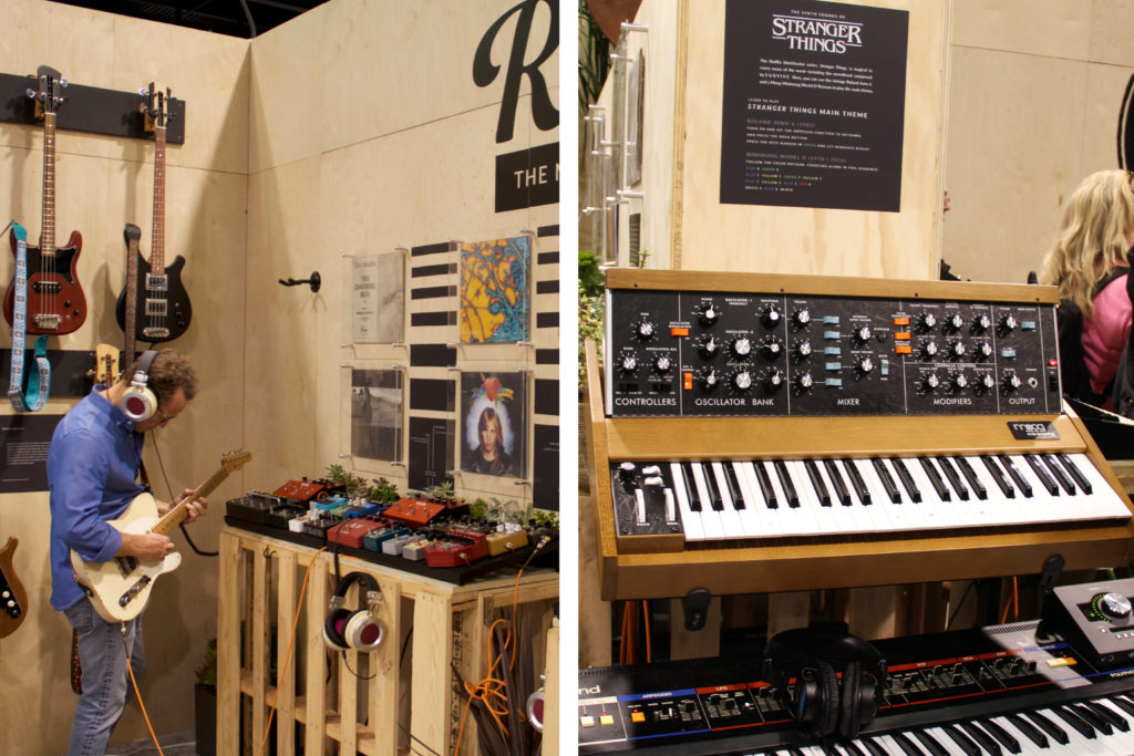 "From left to right: A guitarist tries to emulate Tom Petty's guitar tones, an interactive synthesizer station teaches users how to play the ""Stranger Things"" theme song"