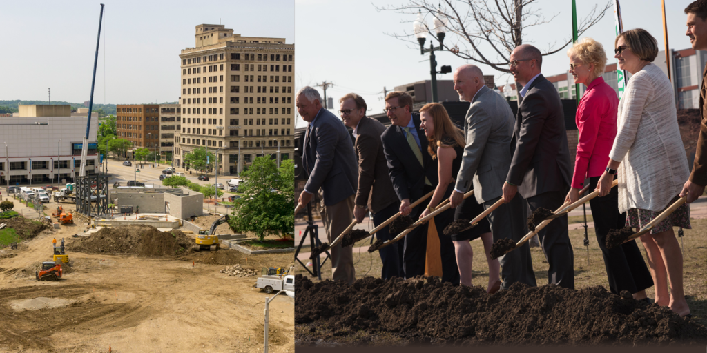 Pictured above (left to right): Construction of future Levitt Pavilion Dayton (photo by Andy Snow); Groundbreaking ceremony for Falls Park West and Levitt Shell Sioux Falls on April 23, 2018.