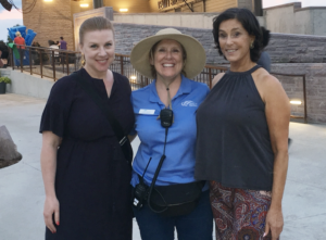 From left to right: Sharon Yazowski, Nancy Halverson, and Liz Levitt Hirsch gear up for the opening ceremony