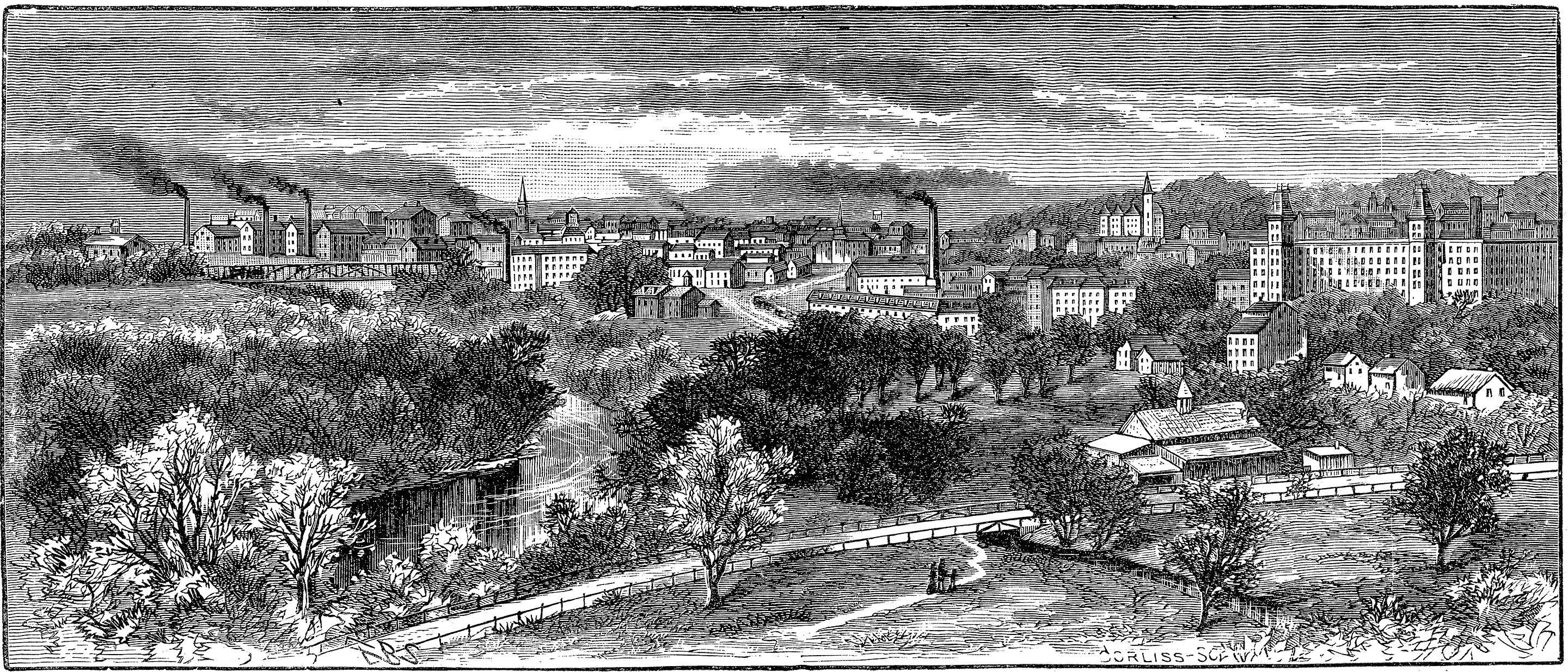 An 1886 etching of downtown Woonsocket