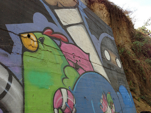 If you take time to walk around Los Angeles, you might find yourself near this cat, chicken and ninja mural, too!