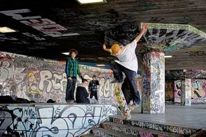 Skateboarders in the Southbank's undercroft