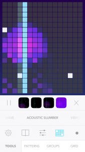 In Beatwave, all you have to do is tap any of the squares on the grid to start making a musical arrangement.