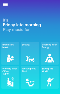 Looking for new music? Songza offers you curated playlists based on common activities depending onthe time of day.