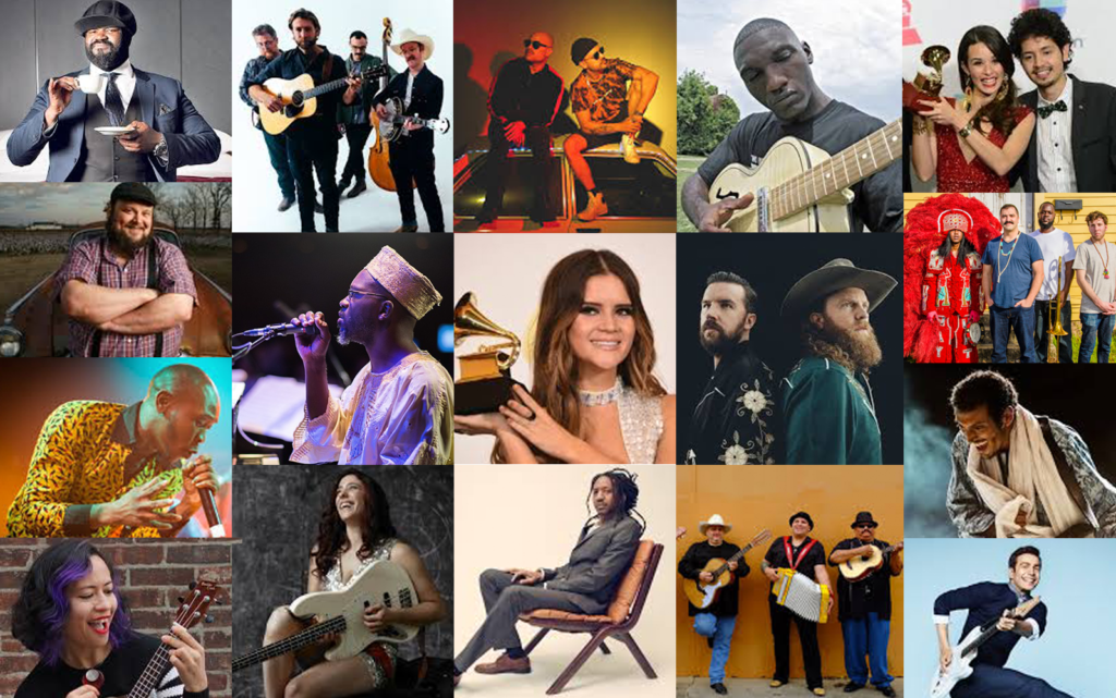 (Left to Right) Top Row: Gregory Porter, Wood & Wire, COASTCITY, Cedric Burnside, Monsieur Periné; Middle Row: Victor Wainwright (above), Seun Kuti (below), Orrin Evans, Maren Morris, Brothers Osborne, Cha Wa (above), Bombino (below); Bottom Row: Lucy Kalantari, Danielle Nicole, Elio Villafranca, Los Texmaniacs, Tim Kubart