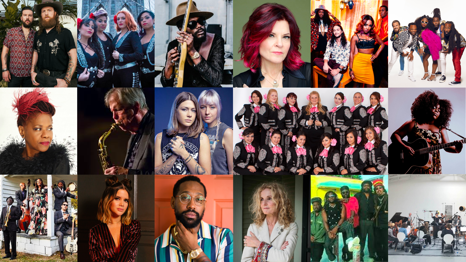 (Left to Right) Top Row: Brothers Osborne, Flor De Toloache, Gary Clark Jr., Rosanne Cash, Southern Avenue, Tank and the Bangas; Middle Row: Catherine Russell, Dick Oatts, Larkin Poe, Mariachi Divas, Yola Carter; Bottom Row: Ranky Tanky, Maren Morris, P.J. Morton, Patty Griffin, Third World, The String Theory.