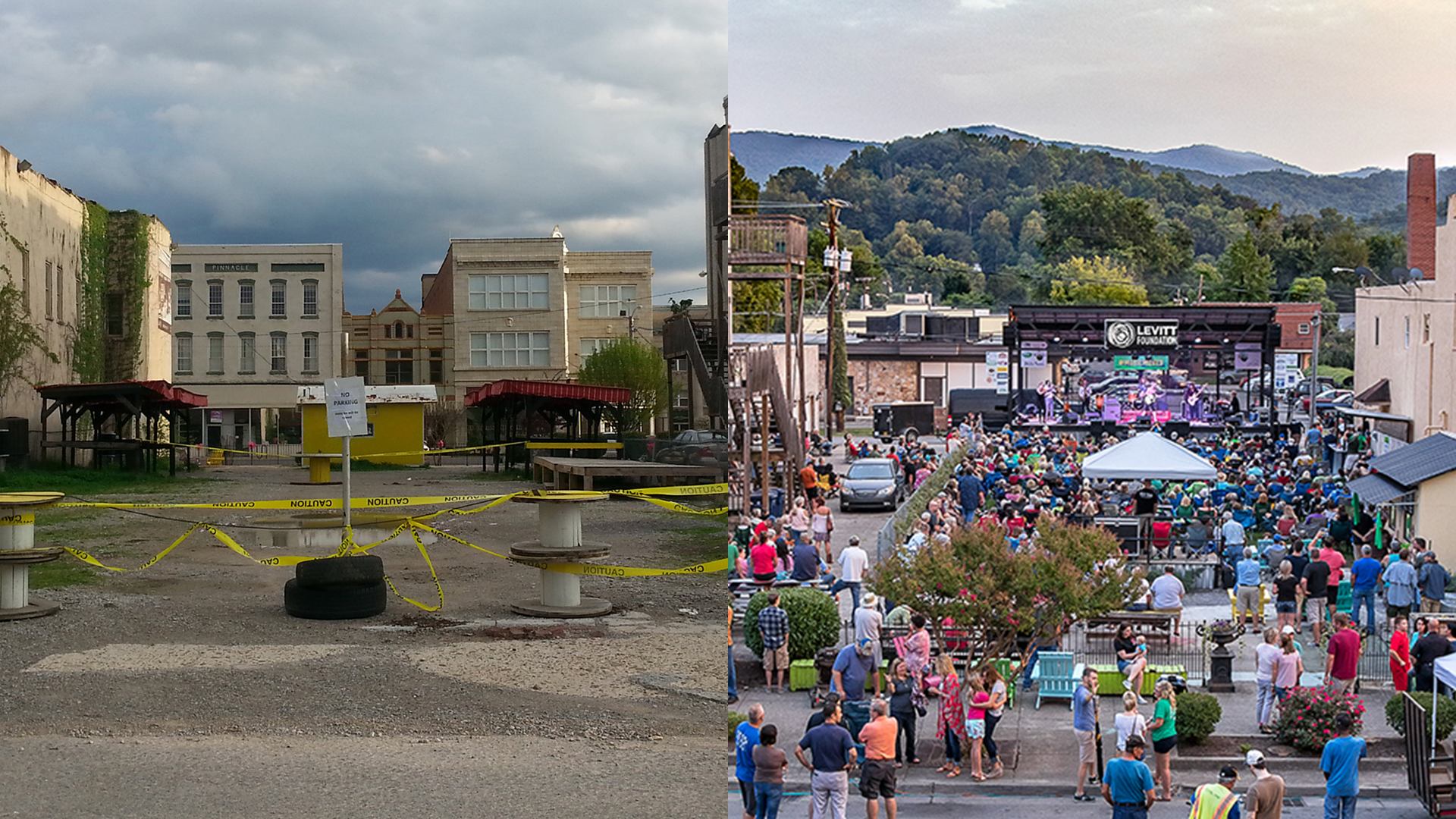 Before and after photos of the public space home to Levitt AMP Middlesboro concerts