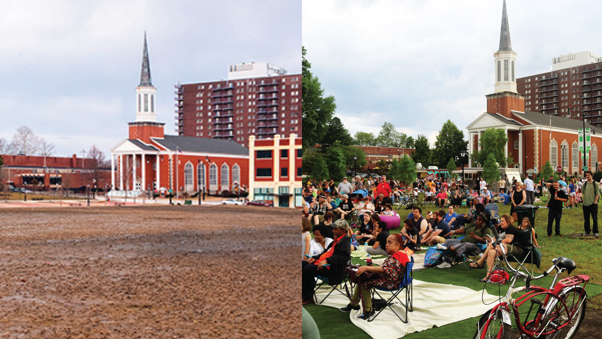 "The ""Y-Block"" in downtown Springfield before and during the Levitt AMP series"
