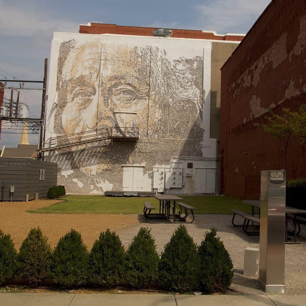 Located in a pocket park, Vhils' Cherokee Man (2015) is based on the first known photograph of a Native American Cherokee. Photo courtesy Unexpected