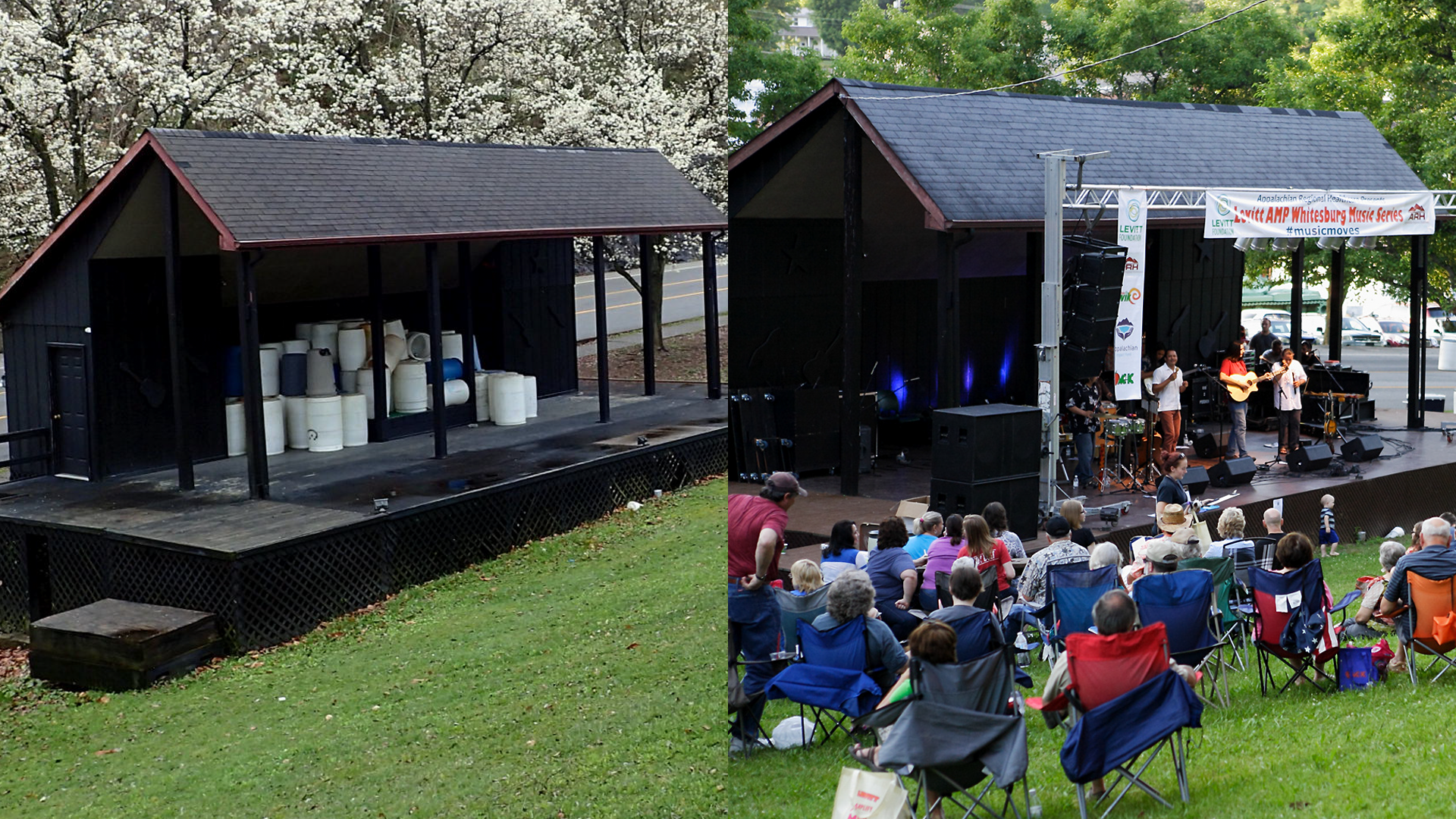 The Mountain Heritage Festival Stage, before and after the launch of the Levitt AMP Whiteburg Music Series