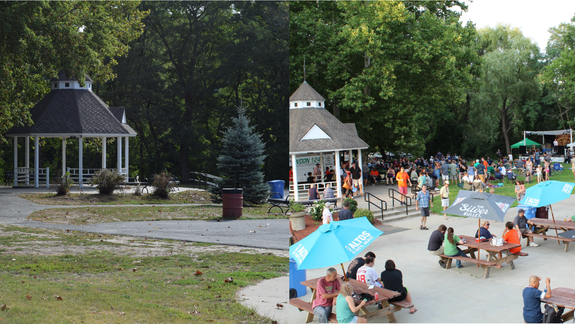 Woonsocket's River Island Art Park before and during the 2018 Levitt AMP Woonsocket Music Series