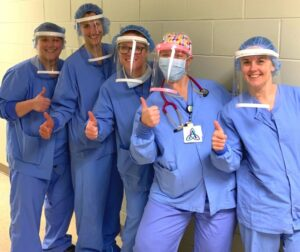 Health workers at Ascension St. Michaels Hospital in Stevens Point wear face shields 3D-printed by CREATE