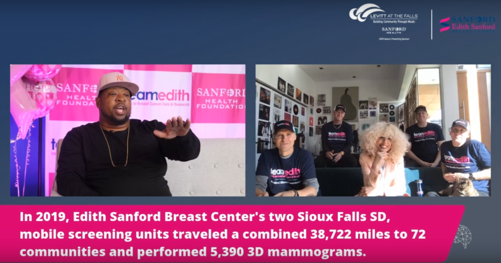 "A moment from Levitt Sioux Falls' ""pink out"" virtual show featuring King & Company"