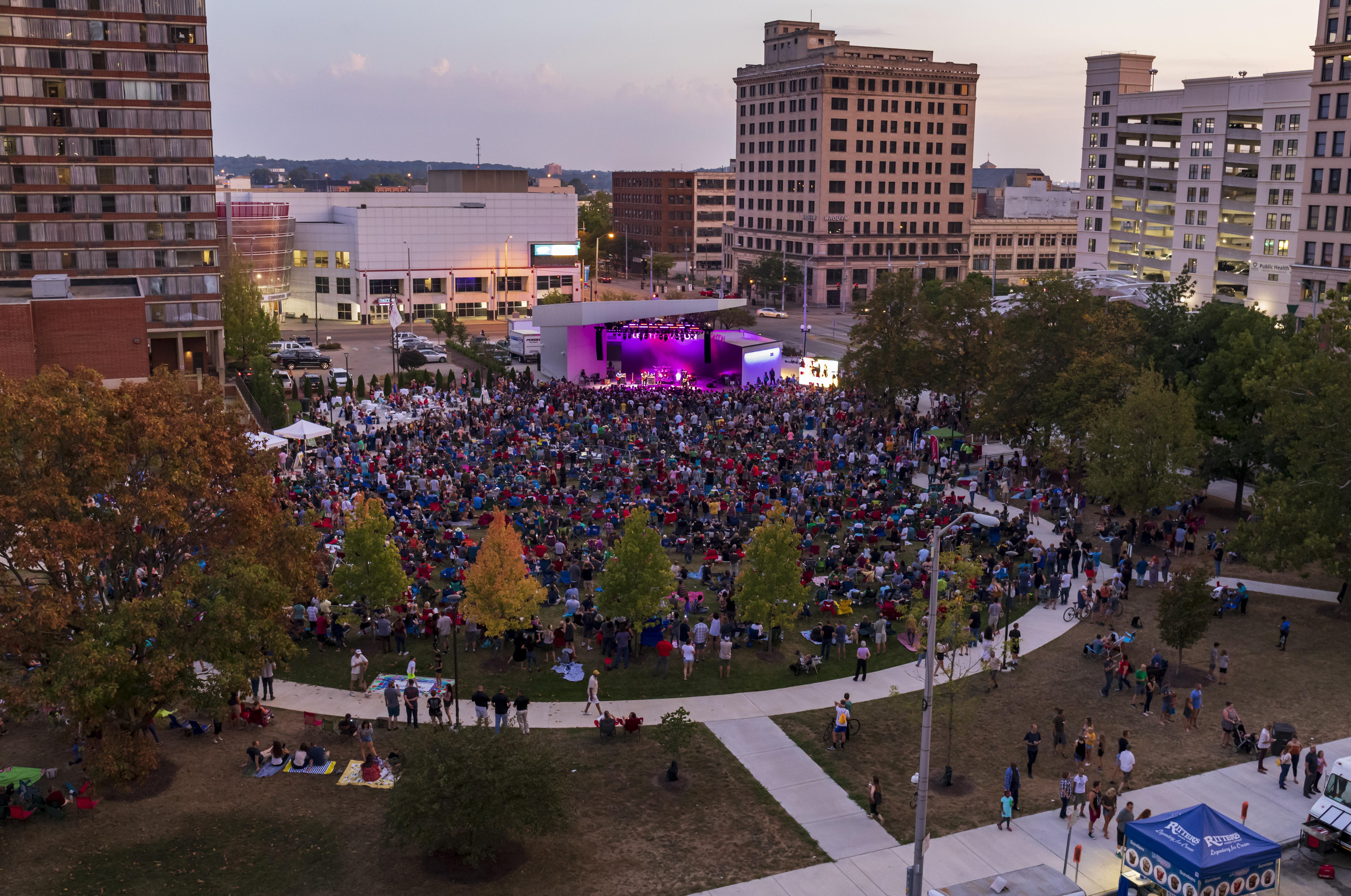A concert at Levitt Pavilion Dayton in Dave Hall Plaza