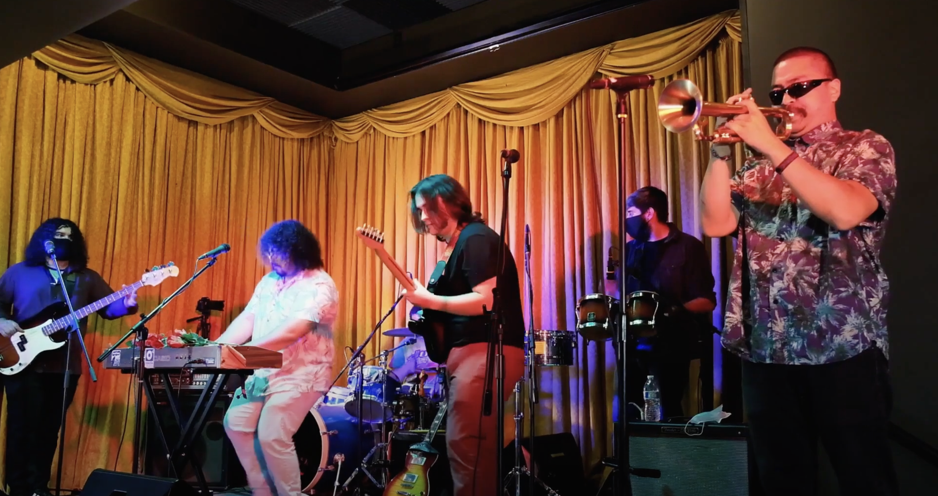 Latin rock band Valley Wolf performing for one of Levitt AMP Merced's 2020 virtual music concerts at The Partisan in downtown Merced.
